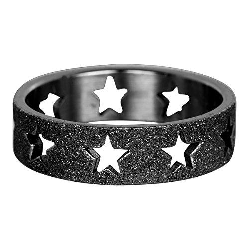 iXXXi Füllring STERNENRING Sandgestrahlt schwarz - 6 mm Größe Ringgröße 18 (Größe 6 Ringe)