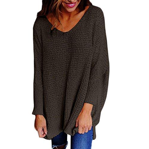 Sannysis Damen Lose Asymmetrisch Jumper Sweatshirt Pullover Bluse Oberteile Oversize Tops (S, Dunkelgrau)