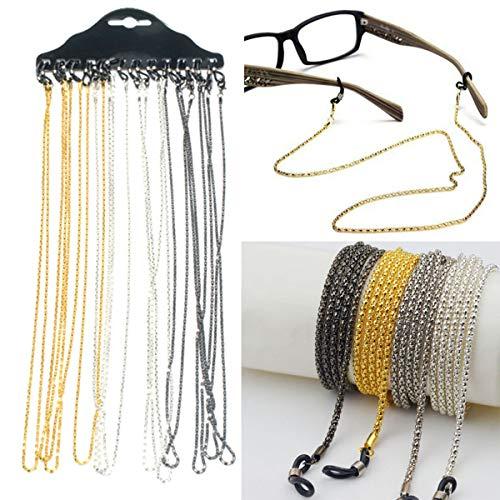 12 Stück Brille Neck Schnur Lanyard Halter Gurt Brillen Anti-verlorene Allergie-freie Umhängeband String für Sonnenbrillen Lesebrille,Gold und Silber