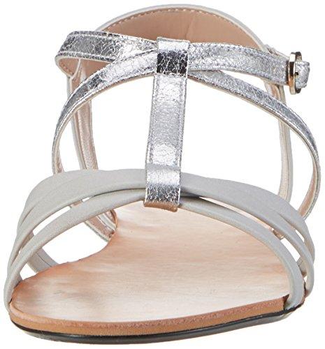 ESPRIT Damen Adya T-Strap Offene Sandalen Grau (090 Silver)