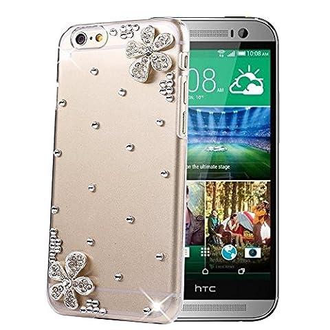 HTC One M8 Hülle Sense TE Strass [3D Handgefertigt] Diamant Serie [Blumen Bling Diamant Schmuckstück]Bling Schutz Handy Tasche Kristall Transparent Case klar Cover Hülle für HTC One M8 mitRetro Anti Staub Stecker-