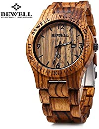 amazon co uk bewell watches bewell zs w086b wooden watches men quartz wrist watch day date watch brown