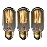 KJLARS 3x Edison Glühbirne Glühlampe E27 25W T45 gerade Draht Bulb Antik Beleuchtung Für Retro Nostalgie Industry Style Leuchtmittel