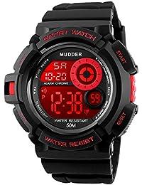Reloj Deportivo Electrónico Digital Relo de Pulsera Impermeable Multifunción con 7 Colores Luz de Fondo de LED, Rojo