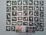 Ragazze gigante scintillio tatuaggio impostato per includere 100 stencil + 10 colori glitter + colla sirena delfino farfalla cuore fund raising cavallo