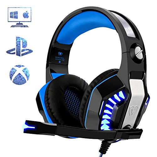 Gaming Headset für PS4 Xbox One PC, Beexcellent Professional Deep Bass Kopfhörer mit Mikrofon LED Licht für Laptop Mac Handy Tablet