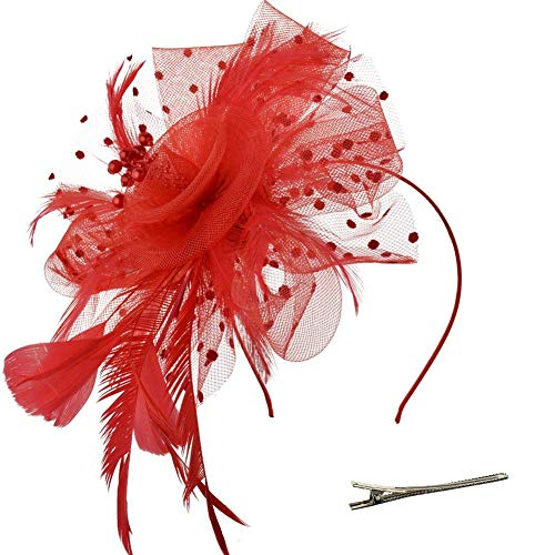 DRESHOW Fascinators Hut Blume Mesh Bänder Federn auf einem Stirnband und einem geteilten Clip Cocktail Tea Party Headwear für Mädchen und Frauen, - Rot - Gr. Einheitsgröße