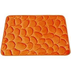 Funime Felpudo Alfombrilla Absorbente para Entrada Cabecera Baño, 3D Guijarro, 100% Microfibra Efecto Coral Transpirable Anti-mohos, Base Vinílica Antideslizante, Lavable a Máquina, 50X70CM (Naranja)