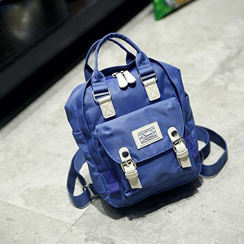 Blue Willen (Rucksack wasserdichte Mini Rucksack der Koreanischen Leinwand Schule Navy Blue)