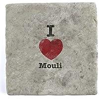 I Love Mouli - Single Marble Tile Drink Coaster