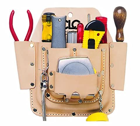 Custom Leathercraft W438 Maintenance Tool Pouch, Top Grain Leather, 6-Pocket by Custom Leathercraft
