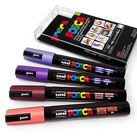 Posca Couleur Tones–PC-5M Art marqueur–Lot de 4–Portefeuille en plastique - Sunset Tones