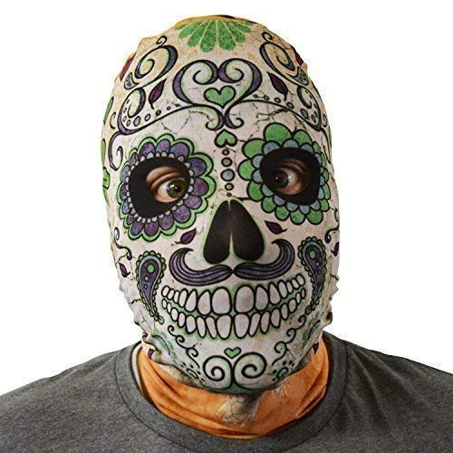 Lila Der Toten Tag Kostüm - gruselig Halloween Gesichtsmaske Tag der Toten Schädel lila grün Kostüm Horror