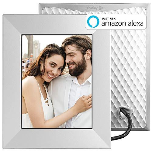 NIXPLAY Iris Digitaler Bilderrahmen WLAN 8 Zoll W08E Silver. Fotos & Videos per App oder Email an den Elektronischen Fotorahmen übertragen. IPS Display. Auto On/Off Funktion (Geräuschsensor)