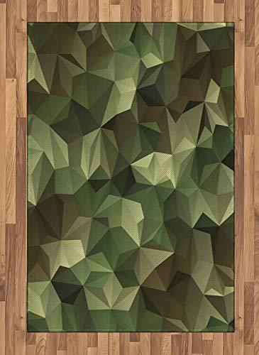 ABAKUHAUS Salbei Teppich, Geometrische Fraktal Camo, Deko-Teppich Digitaldruck, Färben mit langfristigen Halt, 120 x 180 cm, Braun und Grün (Salbei Grün-teppich)