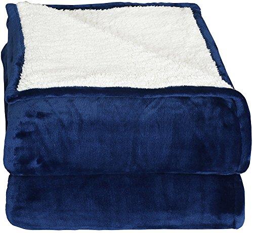 Couvertures réversibles en polaire Sherpa Flannel (200x150 cm) - Tissu brossé extra doux, Couverture de lit super chaude, Couverture de canapé confortable et légère, Easy Care - par Utopia Bedding