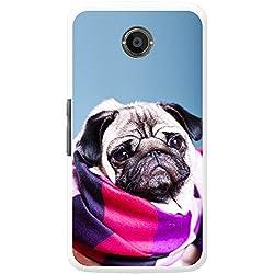 Funda de Pug con bufanda para teléfonos móviles, plástico, Pug Wrapped Up Snug, Motorola Nexus 6