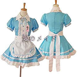 tzm2016 Anime Cosplay Costume French Maid Outfit Halloween, 4 pcs as a set including dress; headwear; apron; fake collar ( blue , Size XL )