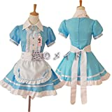 tzm2016 Womens Lolita French Maid Cosplay Costume, 4 pcs as a set including dress; headwear; apron; fake collar ( blue ,