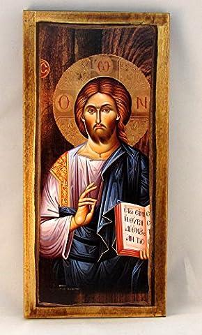 Handmade Wooden Greek Christian Orthodox Wood Icon of Jesus Christ