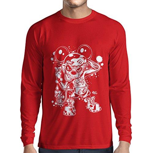 lepni.me Langarm Herren T Shirts Eine Maus mit Einem tollen Halloween-Party-Kostüm (XX-Large Rot Mehrfarben)