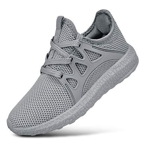 FiBiSonic Herren Damen Sneaker Fitness Laufschuhe Sportschuhe Running Schuhe Ultra-Light Turnschuhe Grau 42