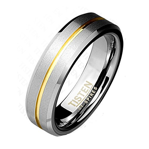 Paula & Fritz® Ring Tisten Titan Wolfram silber 6mm breit Matter Ring mit gold... (Herren Silber-wolfram-ringe)