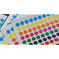 1050 Sticky Coloured DOTS 8mm Labels DOTS Round Circles SELF Adhesive Assorted Colours