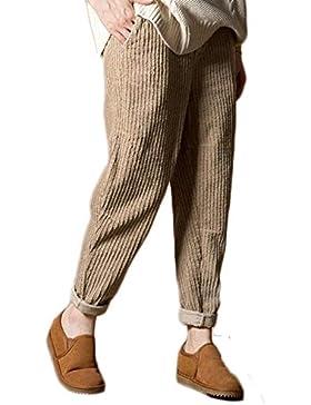 Mujer Elegantes Moda Largos Pants con Múltiples Bolsillos Color Sólido Placket Pana Slim Fit Pantalones De Cintura...