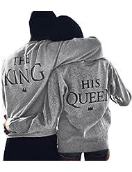 Yistu camiseta parejas The King & Queen tops de manga larga camiseta