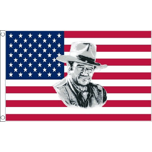 Usa John Wayne Flag 5Ft X 3Ft American Cowboy Wild West Banner With 2 Eyelets by USA John Wayne