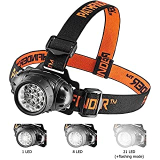 PATHFINDER 21 LED Headlamp Headlight Head Torch - Lightweight, Comfortable and Weatherproof Flash Light/Torch - Water Resistant Safety Head Lamp - 4 User-Friendly Modes of Operation - Garage Workshop Garden Head lamp, Head Torch for Biking, Cycling, Climbing, Camping, Dog Walking, Hiking, Fishing, Night Reading, Riding, Running and other Outdoor and Indoor Activities - Adjustable Head Strap - 135 Degrees Adjustable Beam Angle - 100,000 Hours LED lifetime (in RETAIL PACKAGING) - BLACK (BLACK)
