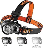 Pathfinder 21 LED Headlamp - Bright, Adjustable, Lightweight, Water Resistant Flashlight, 4 Modes, Garage Torch, DIY, Camping, Outdoor/Indoor, Hiking, Fishing, Running Head Lamp (in Retail Packaging)