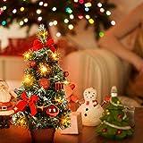 PowerBH LED leuchtet Künstliche Tischplatte Mini Weihnachtsbaum Handwerk Im Topf Mit Kugeln Dekorationen Für Büro Kinderzimmer Deco Rot