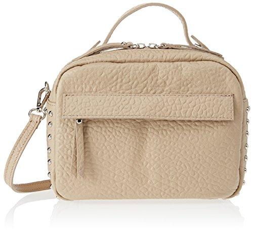 Beige Boston Bag (Chicca Borse Damen 8614 Henkeltasche, Beige Taupe, 23x18x12 cm)