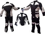 AZ Herren/Damen Motorrad-Anzug, Cordura, 2-teilig, 100% wasserdicht, schwarz und weiß, alle Größen Gr. XXX-Large, schwarz