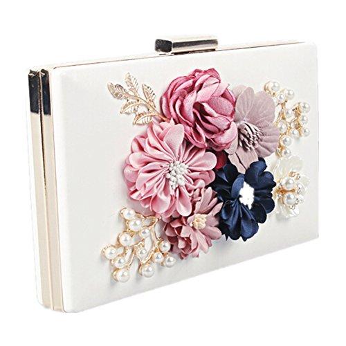 Elegante Frauen Abend Satin Blume Perle Perlen Handtasche Clutch 02-Weiß