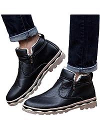 Zapatos de hombre JiaMeng Zapatos con Cordones Botines Adventure Adulto Casual Martin Boots Botas de Nieve para Estudiantes Botas de Piel de Invierno de Felpa