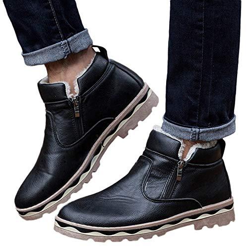 Zapatos de hombre JiaMeng Zapatos con Cordones Botines Adventure Adulto Casual Navidad Boots Botas de Nieve para Estudiantes Botas de Piel de Invierno de Felpa (Negro,EU38=CN39)