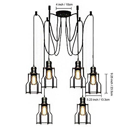 BAYCHEER 6 Flammige DIY Industrielampe Hängeleuchte Höhenverstellbar mit Käfig - 5