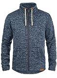 !Solid Luki Herren Fleecejacke Sweatjacke Jacke mit Stehkragen und Melierung, Größe:XL, Farbe:Insignia Blue Melange (8991)