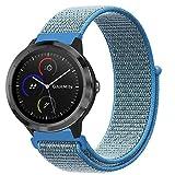 Fintie Armband für Garmin Vivoactive 3 / Garmin Vivoactive 3 Music / Forerunner 645 Music - Premium Nylon atmungsaktive Uhrenarmband Ersatzband mit verstellbarem Verschluss, Blau