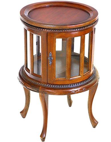 MOREKO Antik-Stil Beistelltisch Massivholz Mahagoni Teetisch Tablett abnehmbar Barschrank