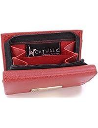 Catwalk Collection Handbags - Vera Pelle - Borsellino/Portafoglio/Portamonete da Donna - RFID Protezione - Scatola Regalo - Victoria Purse