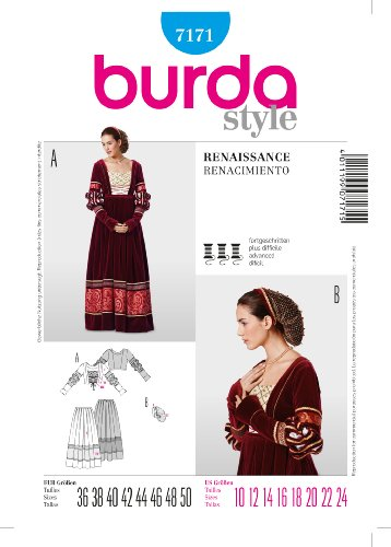 Burda 7171 Schnittmuster Historisches Kleid, Renaissance, Gr. 38-48