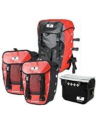 Red Loon Pro 3Compartimento Pack Funda + impermeable para manillar bicicleta alforja para rojo