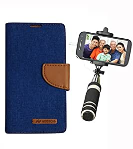 Aart Fancy Wallet Dairy Jeans Flip Case Cover for Apple6G (Blue) + Mini Fashionable Selfie Stick Compatible for all Mobiles Phones By Aart Store
