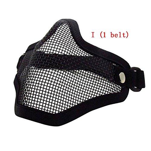 H Welt EU Taktische Paintball Maske Airsoft Stahl Wire Mesh Skelett V1 Half Face Schutzmaske (Schwarz) (Mesh Kapitän)