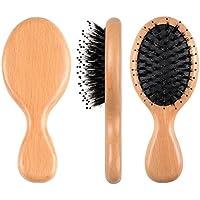 FESHFEN - Cepillo para el pelo con cerdas de jabón – Mini/Cojín Antiestático Masaje Desenreda Cepillo para el.