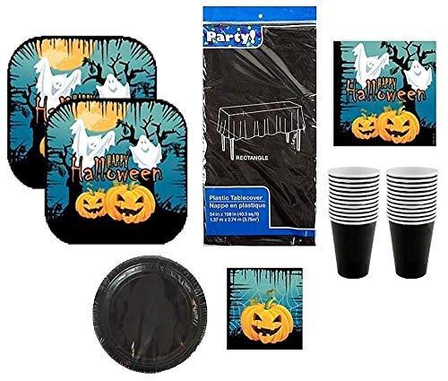 Halloween Themed Party Pack | Ghost & Kürbis Teller, Servietten, Becher, Tischdecke | 6Stück Dient 16Gäste